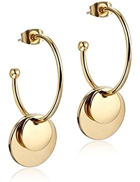 Wistic Jewelry Damen Ohrringe Ohrstecker Ohrschmuck Edelstahl vergoldet mit Runde Anhänger