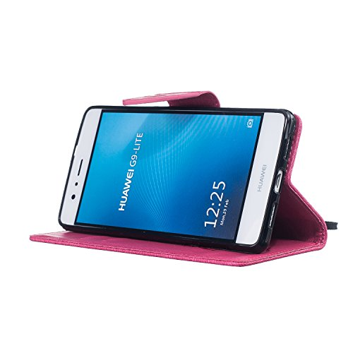 Cover Huawei P9 Lite 2016, Custodia Huawei P9 Lite 2016, Sunroyal [RFID Blocco Portafoglio] Bling Diamante Custodia 100% da del Raccoglitore Manofatto Basamento per Carta di Credito Copertura protetti Modello 16