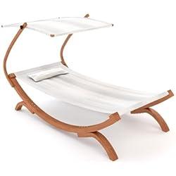 Ampel 24, Tumbona de jardin PANAMA blanca | con techo ajustable | para una persona | 230 x 125 cm | silla de jardín de madera pretratado