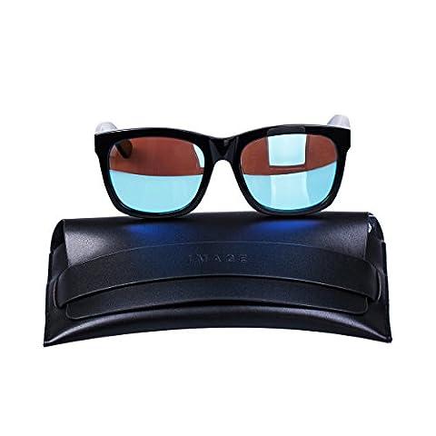 IMAGE Lunettes de Soleil Polarisé UV400 pour la Conduite Cyclisme Bouclier Golf Pêche,etc, RoHS approuvé,cadre noir+ lentille bleu