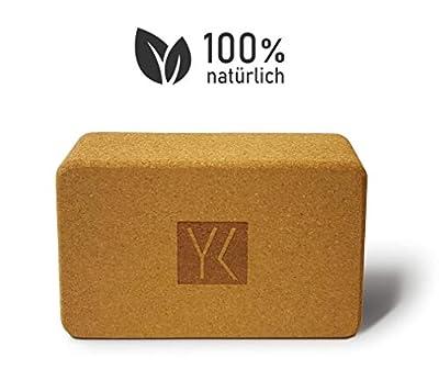 YOGAKLAR Yogablock aus Kork, 100% natürlich und Schadstofffrei, Maße in cm: 22,4 x 14,4 x 7,2