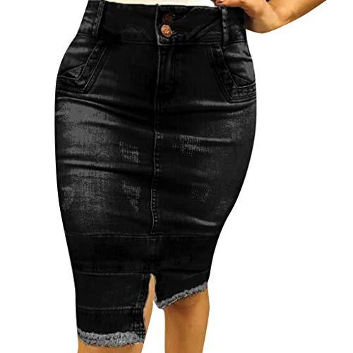 Damen Knielang Jeansrock, LeeMon Denim Bleistiftrock Freizeit Rock Bleistift Boutique Blau Denim Jeans Größe Kurzer Rock Minirock Destroyed-Look (Denim-bleistift-rock Bleistift)