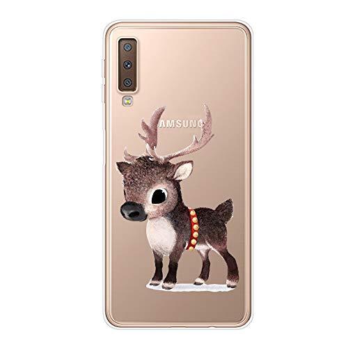 Herbests Kompatibel mit Samsung Galaxy A7 2018 Handyhülle Transparent Silikon TPU Schutzhülle Tier Muster Klar Durchsichtig Crystal Clear Dünn Kratzfest Stoßfest Case,Braun Hirsch