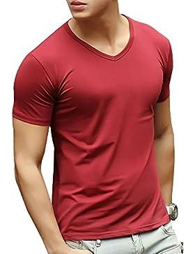 Camiseta, con manga corta, con cuello de pico para hombre