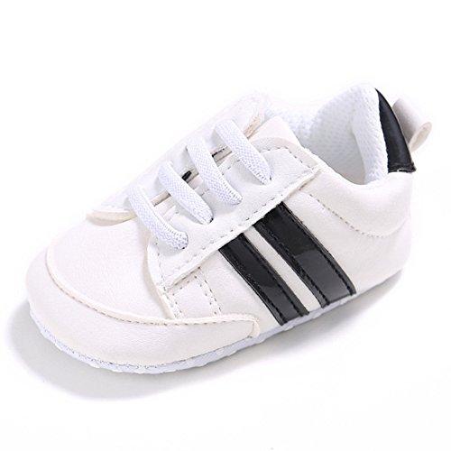 Nicholco , Baby Jungen Lauflernschuhe White + Silver Edge 6-12 Monate White + Black Edge