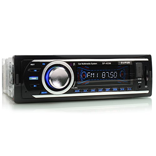 SUPER SP-403M Autoradio mit USB Anschluss & SD Kartenslot (jeweils bis zu 32 GB!) für MP3 und WMA + AUX IN + Single DIN (1 DIN) Standard Einbaugröße + inkl. Fernbedienung