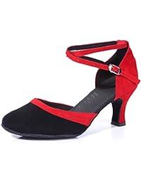 WYMNAME Mujeres Zapatos De Baile Latino,Comunicación Zapatos De Baile Tacones Mediados Fondo Blando Modernos Zapatos...