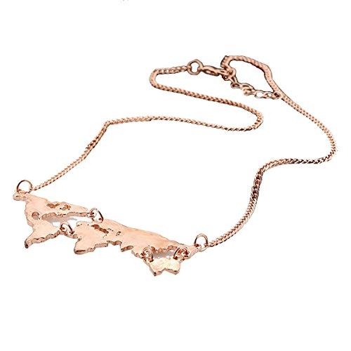 TININNA moda fascino metallo mondo mappa modello del ciondolo lunga catena collana Lunga catena Rose d'oro