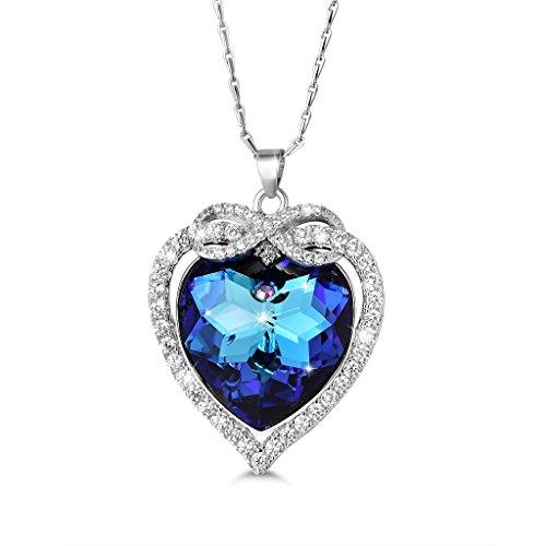i Halskette Saphir Herz Infinity Unendlichkeit Anhänger 925 Sterling Silber Blau Swarovski Kristall und Weiß Rund Zirkonia 'Unendliche Liebe' für Frau/Freundin ()