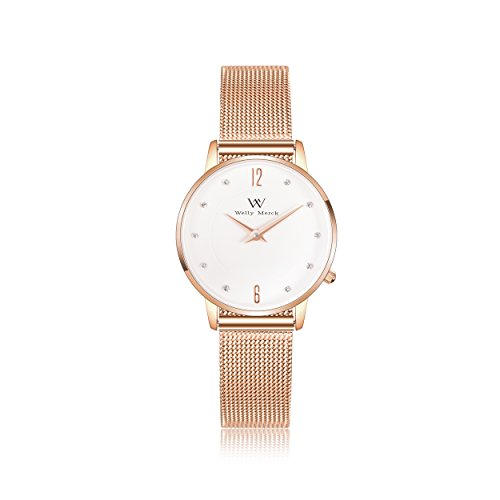 Welly Merck Damen Analog Uhren Schweizer Quarzwerk Mit Roségold Edelstahl Armbänder W-C19M5