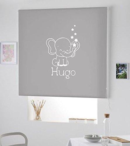 PERSIANA Estor Infantil Personalizado con Nombre Elefante Hugo (120X180, Gris)