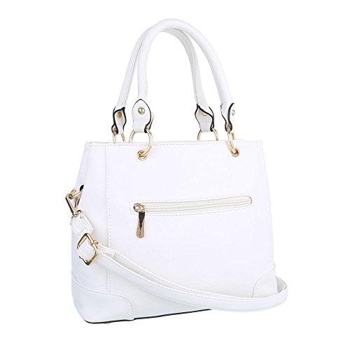iTal-dEsiGn Damentasche Mittelgroße Schultertasche Handtasche Kunstleder TA-AH602 Weiß