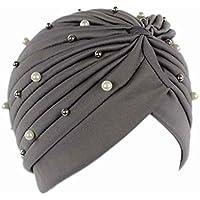 Bobury Mujeres Artificial Perla Turbante Sombrero Pérdida de Cabello Cáncer Cabeza Pañuelos Quimioterapia Cap Sombreros