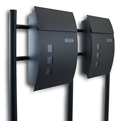 BITUXX® Doppel Standbriefkasten Briefkasten Postkasten Mailbox Letterbox Briefkastenanlage Dunkelgrau Anthrazit