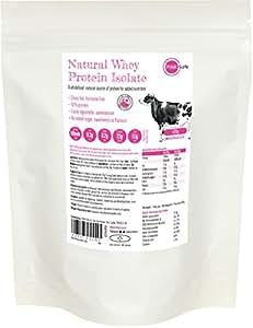 PINK SUN Natural Whey 420g (ou 1kg) Poudre d'Isolat de Protéine de Lactosérum sans Hormone Alimentée à l'Herbe (92% de protéines) Non Aromatisée Pas de Soja Sans Gluten - Whey Protein Isolate Powder Unflavoured