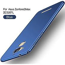 Asus ZenFone 3 Max ZC520TL Funda,2ndSpring Alta Calidad Ultra Slim Anti-Rasguño y Resistente Huellas Dactilares Totalmente Protectora Caso de Plástico Duro Cover Case + Cristal Templado para Asus ZenFone 3 Max ZC520TL Azul