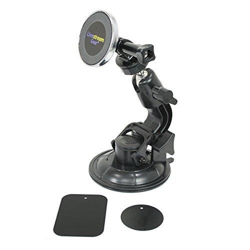 LiveStream Gear-Universal Phone Mount und Saugnapf für Glas/Magnet Windschutzscheibe. Leicht an zu Telefon Glas Oberflächen über magnetaufhängung und Metallic Teller. Starker Halt. Wireless Hot Shoe
