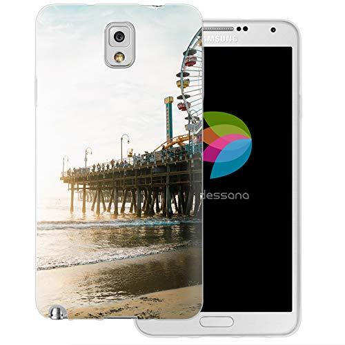 dessana Los Angeles LA Transparente Silikon TPU Schutzhülle 0,7mm dünne Handy Tasche Soft Case für Samsung Galaxy Note 3 Santa Monica Pier