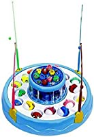 Zitto Musical Fish Catching Game Big with 26 Fishes and 4 Pods, Includes Lights, Assorted Colour