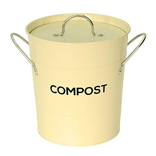 The Caddy Company Creme Metall Küche Compost Caddy - Kompostierung Bin für Lebensmittel Waste Recycling (Küche Biotonne Metall)