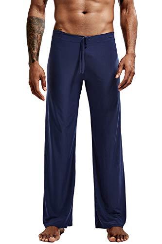 Yaomei uomo pantaloni pigiama lungo, nylon pantaloncini casuale biancheria da notte cintura elastica pantaloni da notte yoga gli sport abbigliamento da notte (l, marina militare)