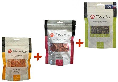 Perrito Premium Snack 3x - 1x Soft Lamb Chunks 100g - 1x Chicken Jerky Chips 100g - 1x Duck Jerky Chips 100g -