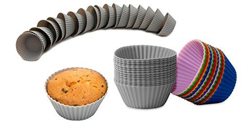 BackeFix Muffinförmchen Silikon Förmchen Muffin wiederverwendbar & antihaftend – Muffinformen ohne Fett und Papier Ø 7cm (30 Stück)
