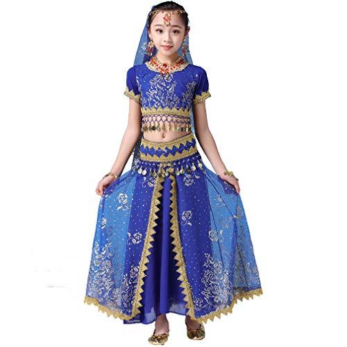 Magogo Bauchtanzkleid für Mädchen 3-teiliges Set Bollywood Indian Arabian Performance Kostüm für Kinder Karneval Fancy Outfit (XL, (Bollywood Kostüm Für Jungen)
