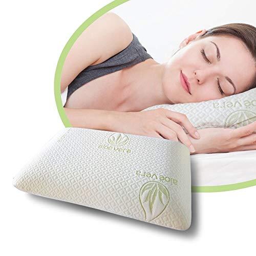 Memory-Foam kissen ergonomisch | Abdeckung in Aloé Véra | Hypoallergen und Anti-Staub-Milben | Weiche Gedächtnisschaum | Dichte 40D | Größe 60x40x12centimeter