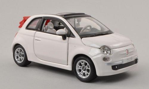 Fiat-500C-Cabriolet-weiss-Verdeck-geffnet-Modellauto-Fertigmodell-Bburago-124