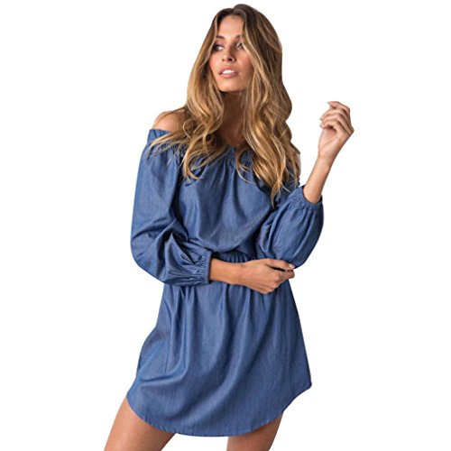 DOLDOA Frauen aus Schulter Mini Kleid Damen Fall Cowboy Kleid (EU: 40-48) (Mini-kleid Spitze Front,)