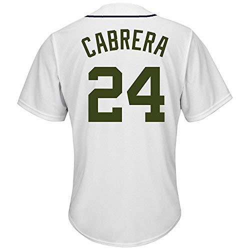 BEMWY Herren/Damen/Jugend_Miguel_Cabrera_#24_Weiß_Sportbekleidung_Ausbildung_Baseball_Jersey S-XXXL - Miguel Cabrera Jersey