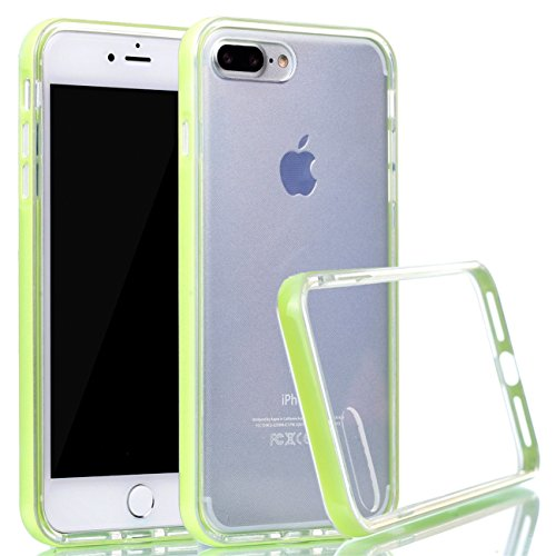 iPhone 8 Plus Hülle, Voguecase Silikon Schutzhülle / Case / Cover / Hülle / TPU Gel Skin für Apple iPhone 8 Plus 5.5(Transparente Grenze/Rose) + Gratis Universal Eingabestift Transparente Grenze/hellgrün