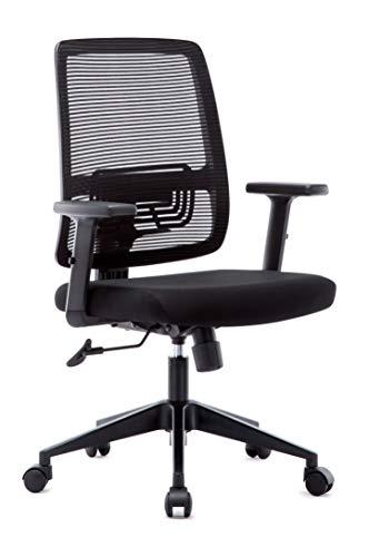 Bürostuhl Ergonomischer Schreibtischstuhl mit Netzrücken, Höhenverstellbarer Chefsessel  Drehstuhl mit Wippfunktion für Soho- oder Büroarbeit, schwarz