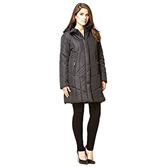 David Barry - Black Womens Quilted Winter Detachable Hooded Coat Size 10 36