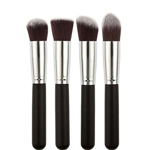 Susenstone 4PCs Synthétique Kabuki Plat Fondation Brosse Unique Maquillage Cosmétique, Noir