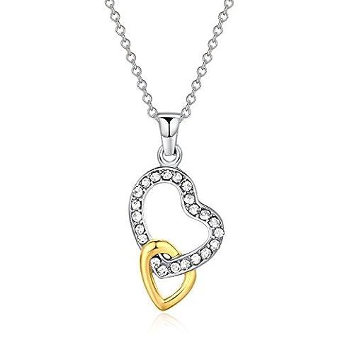 Cœur en acier inoxydable 316L Pendentif Collier pour femme 50,8cm Blanc crytstal par canmiya