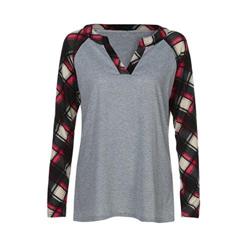 Damen Oberteile,DOLDOA Frauen V-Ausschnitt Langarm Plaid Bluse T-Shirt Pullover Tops Shirt (EU:48, Grau ,V-Ausschnitt Langarm Plaid Oberteile) Plaid Trench Jacke
