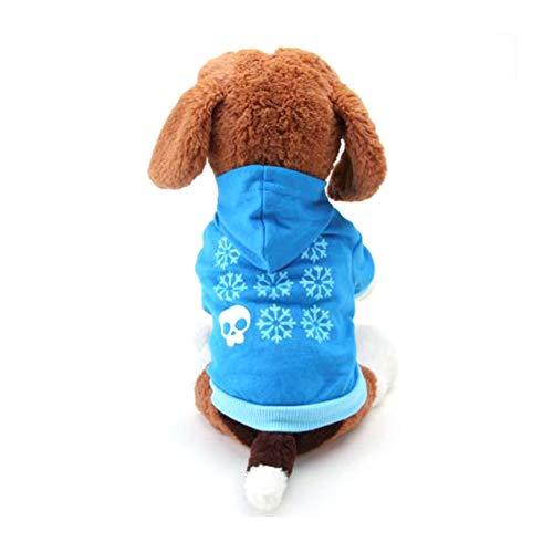 (Wilk Halloween-Kostüm für Kleine Hunde, Baumwolle, mit Totenkopf, Größe L, Blau)