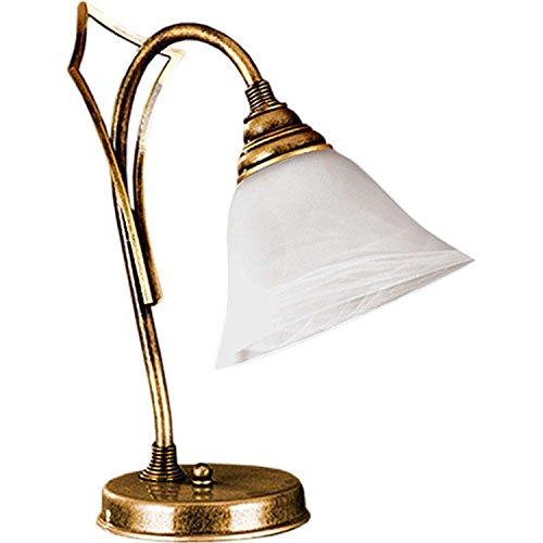 Tischleuchte Schirm aus Glas Messing 34cm Jugendstil elegant Antike Lampe Beistelltisch Nachttischlampe