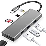 HUATXING Hub C USB 7 en 1, avec Adaptateur HDMI 4K, 2 Ports USB 3.0, Lecteur SD/Micro SD et Alimentation USB-C pour MacBook Pro, Lenovo, Dell, Ordinateur Portable HP