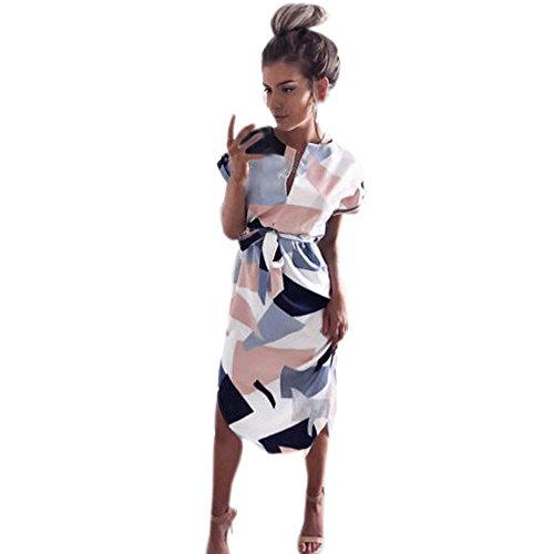 Kleid Damen,Binggong Frauen Mode Quadratisches Muster Kurzarm Partei Abend V-Ausschnitt Langes Kleid Sundress Cocktailkleid Freizeit Strand Sommerkleid (Sexy Rosa, S) -