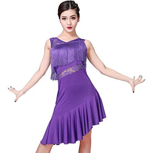 Frauen Tanzkleider Kostüm - ChYoung Spitze Latin kostüme Tanzkleider fransenrock mit kurzen Leggings Frauen Damen mädchen Dance Performance Kleidung