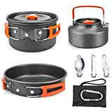 Powcan Camping Cookware Kit for 2 People Portable Camping Pans and Pots Aluminum
