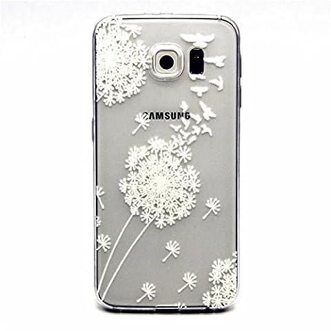 MOTOUREN Coque PourSamsung Galaxy S6 ,transparent Housse étui en TPU Silicone Shell Housse Coque étui Case Cover Cuir Etui Housse de Protection ÉtuiSamsung Galaxy S6 - pissenlit