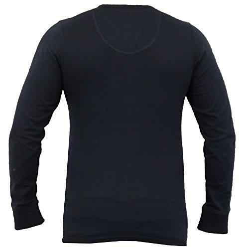 Herren Langärmeliges Oberteil/T-Shirt Von Tokyo Laundry Großvater Ausschnitt Marineblau - 1U7978