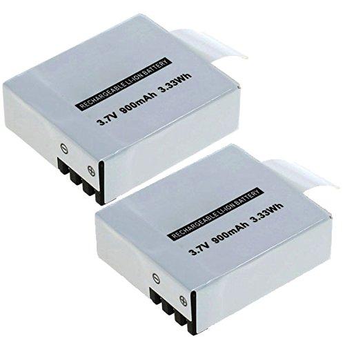 subtel 2X Batteria Akaso EK 7000 4K Crosstour CT8000 CT9000 Action Camera TecTecTec xPro 1 xPro 2 xPro 2 Plus Yuntab A9 1080p, 900mAh PG1050 SJ4000B BAT-412 BR-01 Batterie Ricambio accu Sostituzione