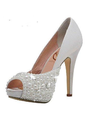 Shangyi scarpe da sposa - sandali - tacchi / spuntate / plateau - matrimonio / formale / serata e festa - bianco - da donna , 4in-4 3/4in-white
