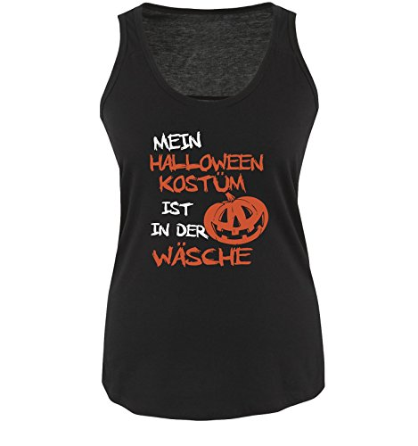 Comedy Shirts - MEIN HALLOWEEN KOSTÜM IST IN DER WÄSCHE KÜRBIS - Damen Tank Top Schwarz / Weiss-Orange Gr. XL