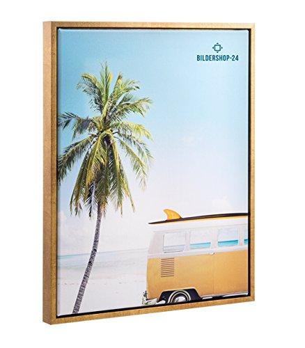 Schattenfugenrahmen mit Schattenfuge Lemgo für Keilrahmenbilder und Leinwände 50x70cm Gold Blattgold